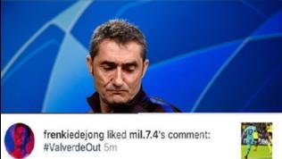 Caos Barcellona, i tifosi chiedono l'esonero di Valverde: e De Jong mette like