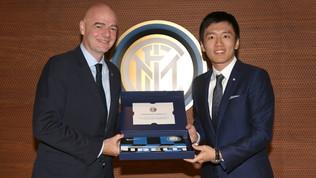 Inter: il presidente della Fifa Infantino visita la sede