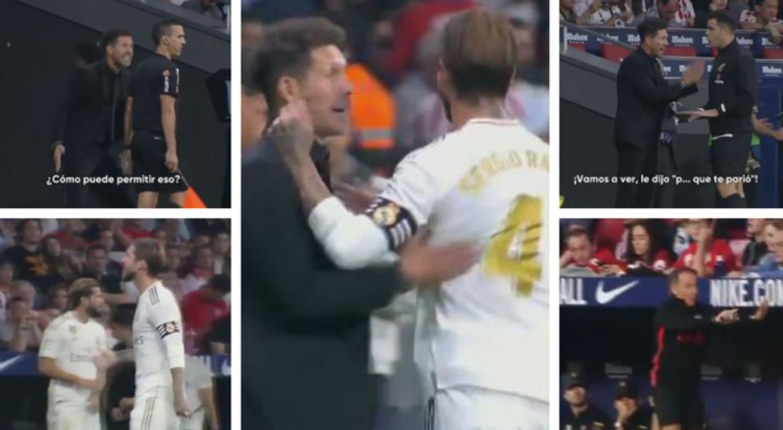 Durante il derby di Madrid tra Atletico e Real, Sergio Ramossi scaglia contro il guardalinee insultandolo.Diego Pablo Simeone, che assiste alla scena, si infuria per la mancata sanzione al capitano dei Blancos.