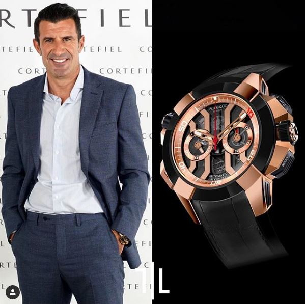 Luis Figo indossa un Jacob and Co Epic X Chrono da 18 carati in oro rosa.  Valore di mercato : 40mila euro.