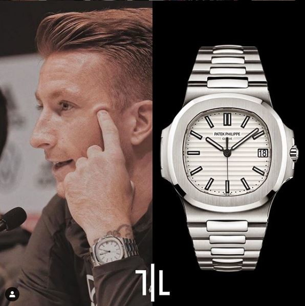 Marco Reus indossa un Patek Philippe 5711.  Valore di mercato : 30mila euro.
