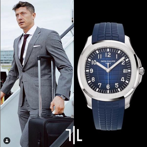 Robert Lewandowski indossa un Patek Philippe Aquanaut 5618G-001 in oro bianco.  Valore di mercato : 60mila euro.