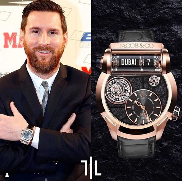 Leo Messi indossa un Jacob and Co Epic SF24 Tourbillon in oro rosa.  Valore di mercato : 190mila euro.