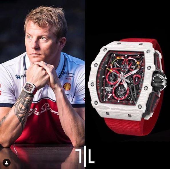 Kimi Raikkonen indossa un Richard Mille RM 50-04.  Valore di mercato : 1 milione di euro.