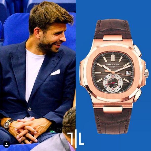 Gerard Piquè indossa un Patek Philippe 5980R-001 Nautilus Chronograph in oro rosa.  Valore di mercato : 120mila euro.