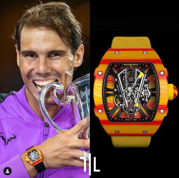 "Rafael Nadal indossa un Richard Mille RM 27-03 Tourbillon ""Rafael Nadal"".  Valore di mercato : 750mila euro."