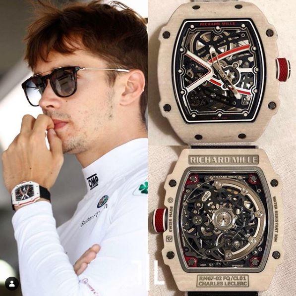 Charles Leclerc indossa un Richard Mille RM 67-02 FQ/CL01 personalizzato. Pezzo unico, valore di mercato indefinito.