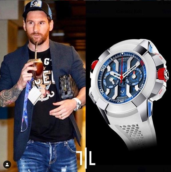 "Leo Messi indossa un Jacob and Co Epic X Chrono ""Messi edition"".  Valore di mercato : 28mila euro."