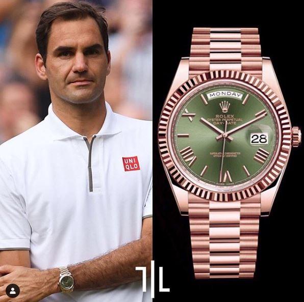 Roger Federer indossa un Rolex Day-Date 40 in oro rosa.  Valore di mercato : 37mila euro.