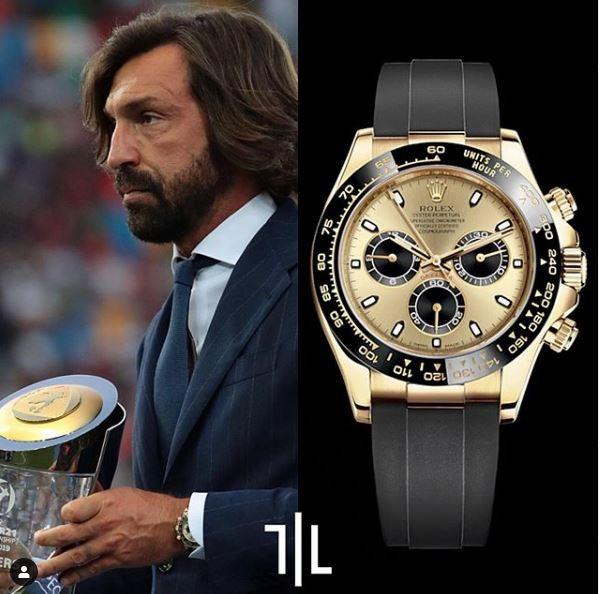 Andrea Pirlo indossa un Rolex Daytona in oro giallo.  Valore di mercato : 27mila euro.