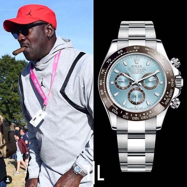 Michael Jordan indossa un Rolex Daytona in platino.  Valore di mercato : 75mila euro.