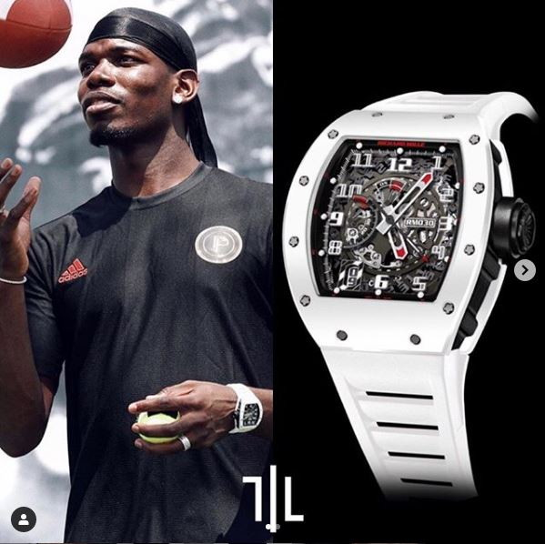 "Paul Pogba indossa un Richard Mille RM030 ""White Rush"".  Valore di mercato : 140mila euro."