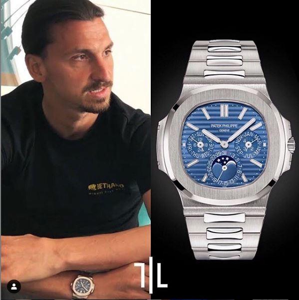 Zlatan Ibrahimovic indossa un Patek Philippe 5740 Nautilus a calendario perpetuo in oro bianco. V alore di mercato : 215mila euro.