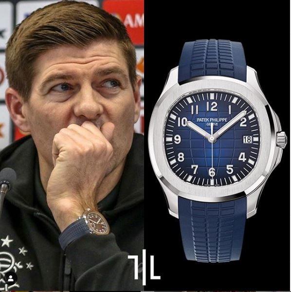 Steven Gerrard indossa un Patek Philippe Aquanaut Jumbo 5168G in oro bianco.  Valore di mercato : 40mila euro.