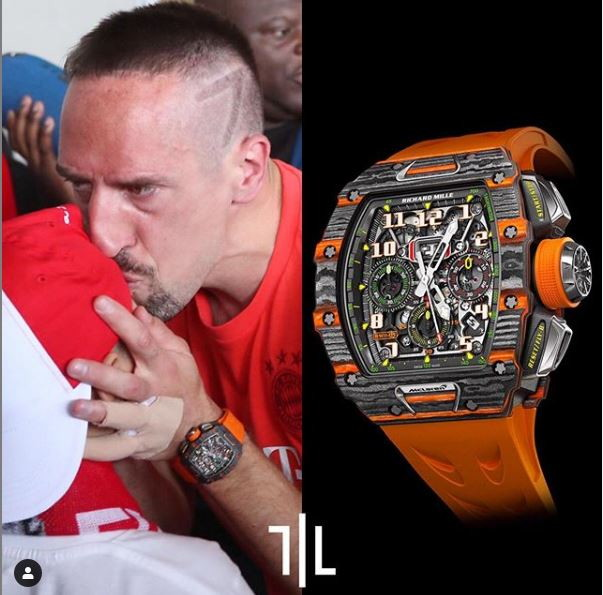 "Franck Ribery indossa un Richard Mille RM11-03 ""McLaren"". Valore di mercato : 285mila euro."