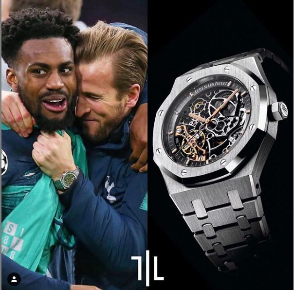 Harry Kane indossa un Audermars Piguet Royal Oak.  Valore di mercato : 86mila euro.