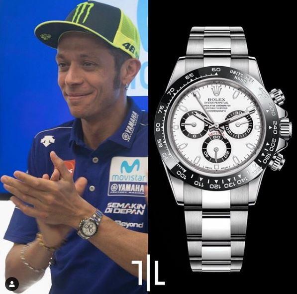 Valentino Rossi indossa un Rolex Daytona.  Valore di mercato : 15mila euro.