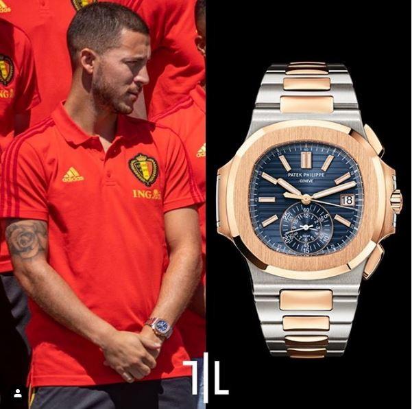 Eden Hazard indossa un Patek PhilippeNautilus Chronograph 5980/1AR.  Valore di mercato : 100mila euro.