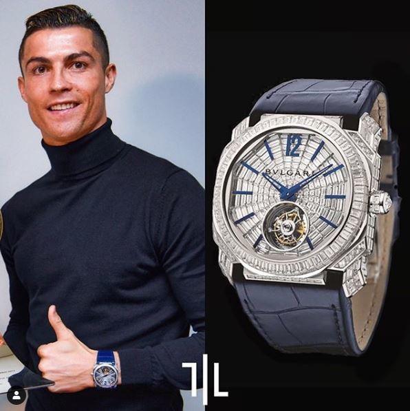 Cristiano Ronaldo indossa un BulgariOcto Tourbillon Full Baguette diamonds.  Valore di mercato : 790mila euro.