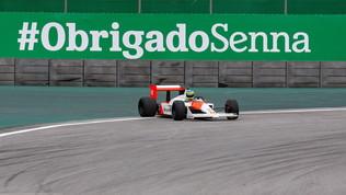 Bruno Senna sulla McLaren MP4/4 di Ayrton