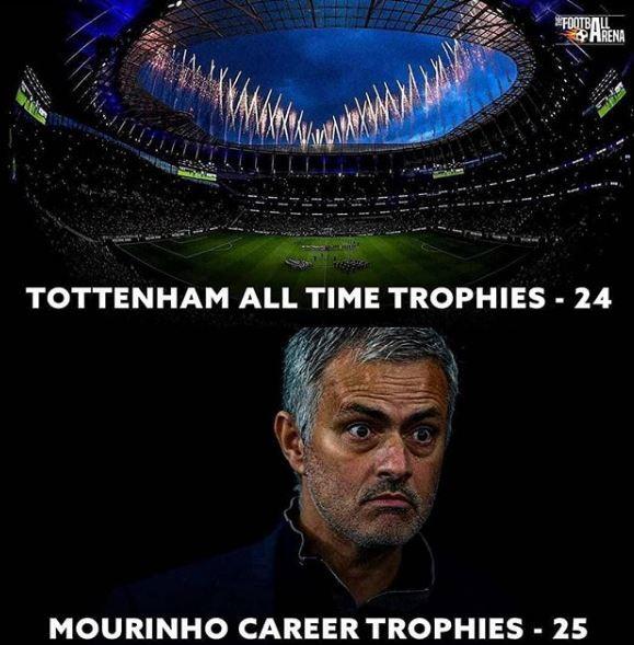 Mourinho ha vinto in carriera più trofei rispetto a tutta la storia del Tottenham