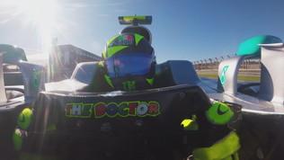 Con Rossi al volante della Mercedes