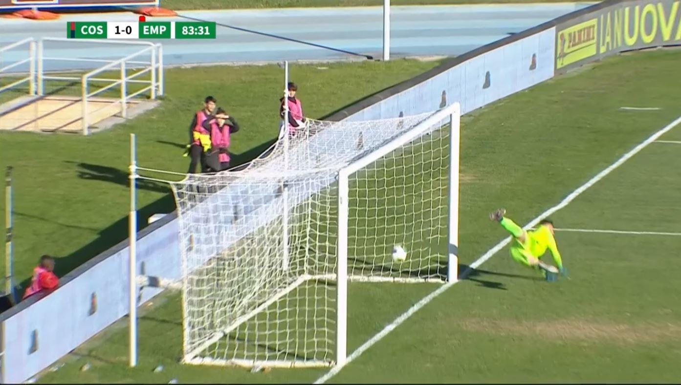 Ecco il gol negato a Ricci dell'Empoli: la palla entra ma l'arbitro Pezzuto non vede.
