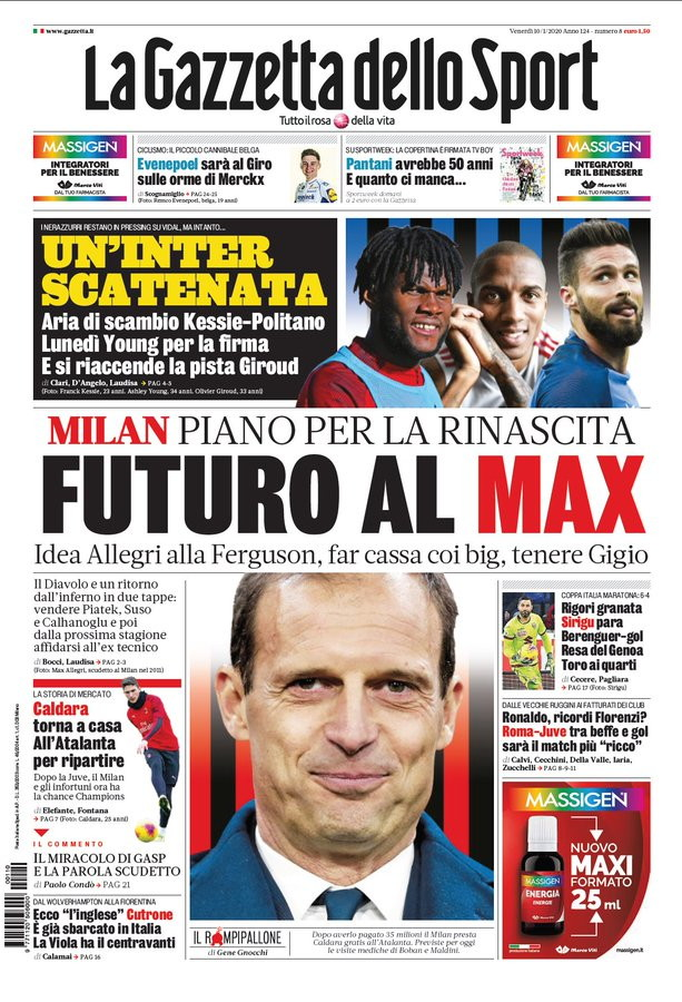 Le prime pagine dei giornali sportivi