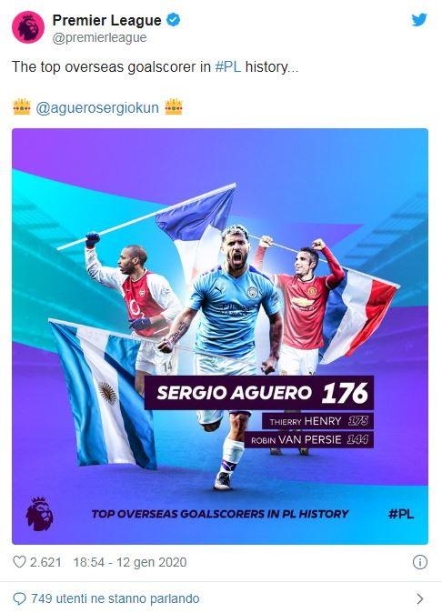Sergio Aguero, con la tripletta all'Aston Villa, ha battuto due record personali: con 176 gol è diventato il marcatore straniero migliore della storia della Premier League, superato Henry a 175. Inoltre ha anche il record di triplette nel campionato inglese, 12, superato Shearer a 11.
