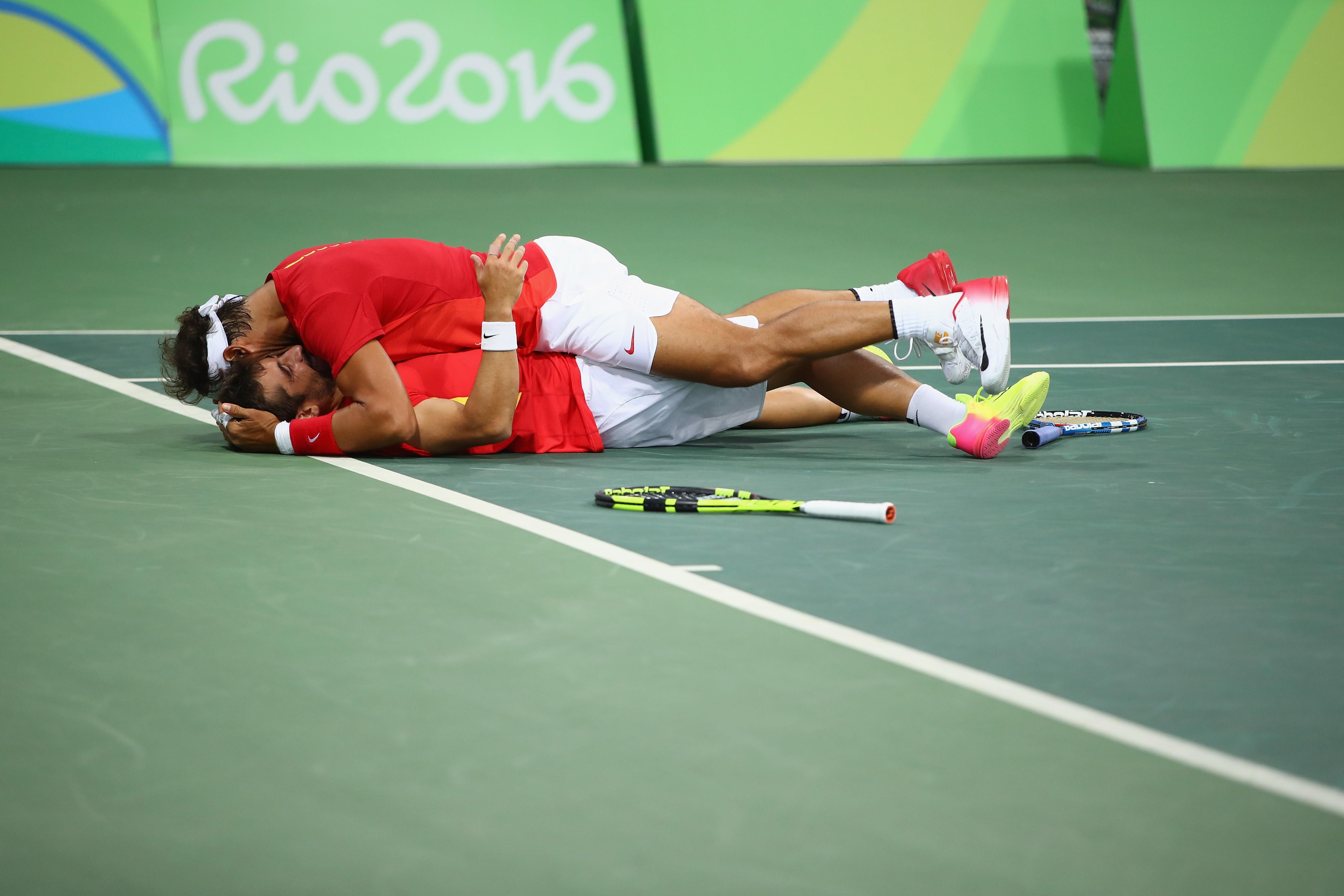 11 agosto 2016: Nadal e Lopez dopo la semifinale di doppio vinta contro il Canada alle Olimpiadi di Rio