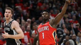 Nba: Zion Williamson incanta ma i Pelicans cadono in casa contro gli Spurs, Gallinari vince