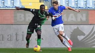 Un tempo per uno e zero gol: il Sassuolo in dieci resiste alla Samp