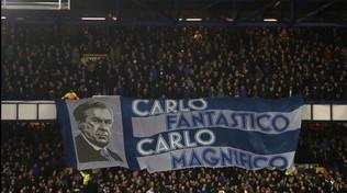 """Tifosi Everton, striscione per Ancelotti: """"Fantastico, magnifico"""""""