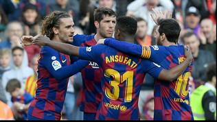 Liga: Barcellona-Getafe 2-1, i blaugrana raggiungono il Real in testa ma perdono Jordi Alba