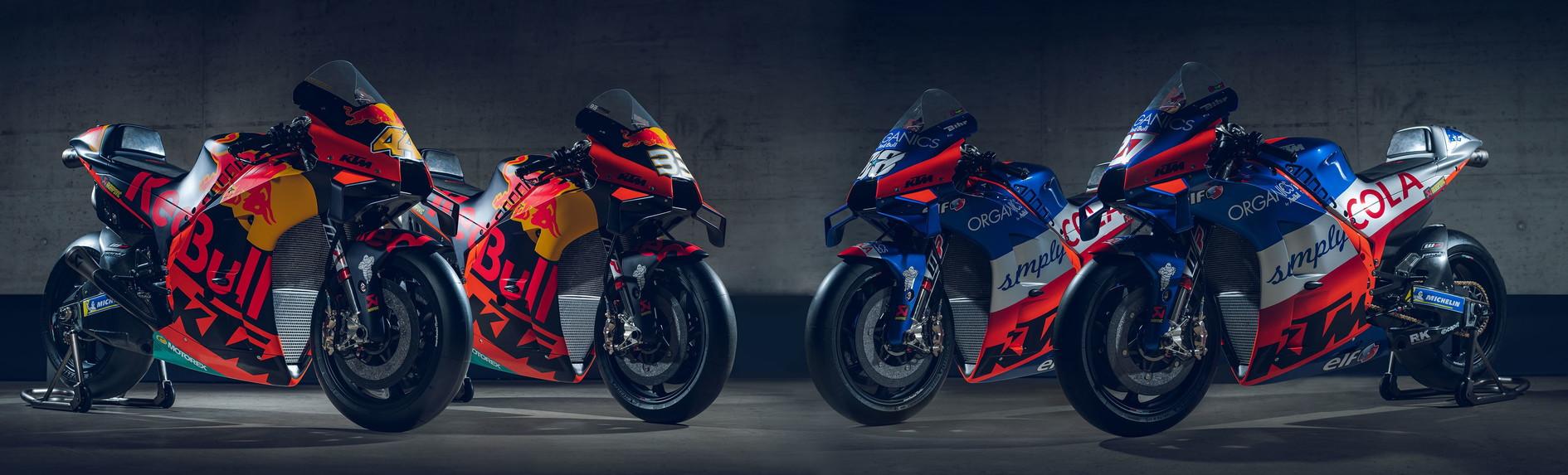 Presentato lo squadrone Ktm per l'imminente stagione di MotoGP. Saranno quattro i piloti in sella alle RC16: Pol Espargaro e Brad Binder con i colori del team ufficiale, MiguelOliveira e Iker Lecuona con quelli del team Tech3.