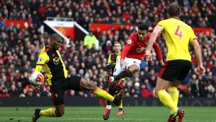 United, tris Champions al Watford. L'Arsenal rimonta Ancelotti