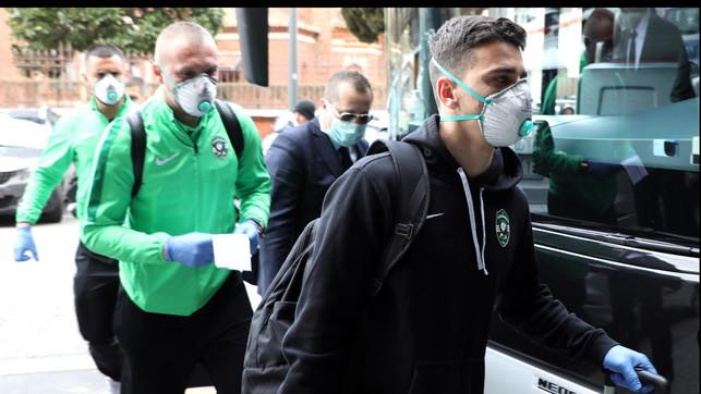 Ludogorets, ansia coronavirus: giù dal pullman con mascherina e guanti