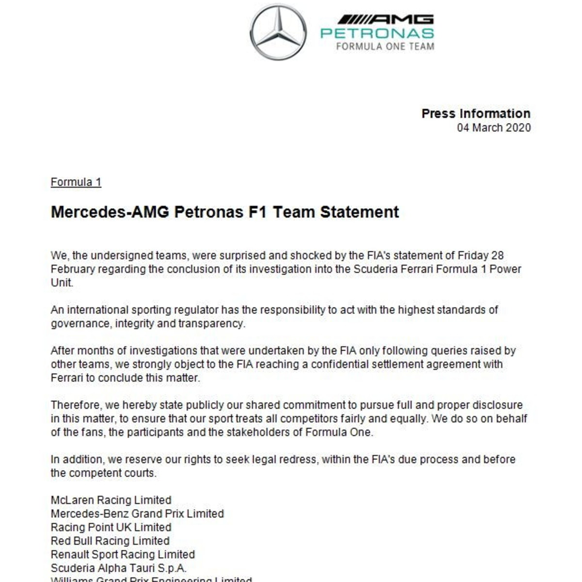 F1, la Mercedes guida la guerra contro Fia e Ferrari