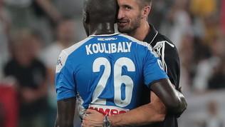 """Chiellini e l'abbraccio a Koulibaly: """"Quella faccia mi ha sciolto"""""""
