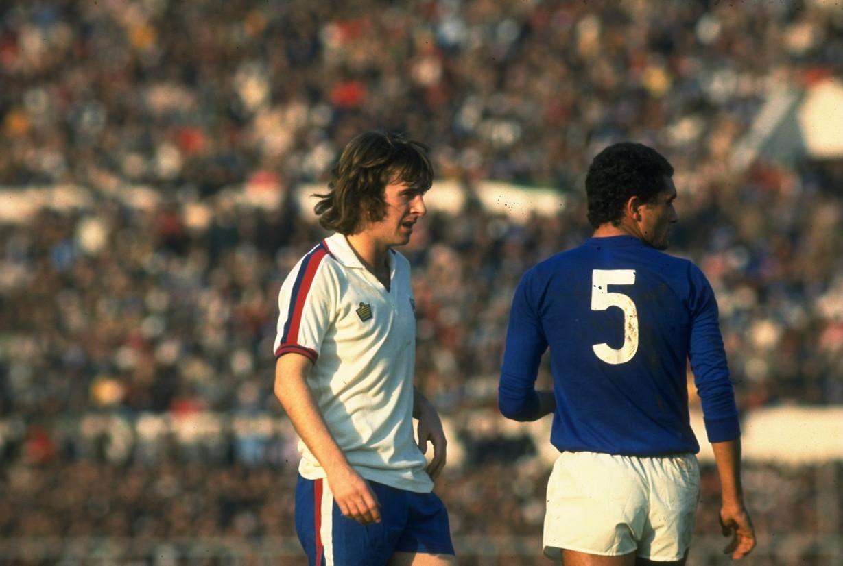 Gentile e Bowles durante Inghilterra-Italia (1970)