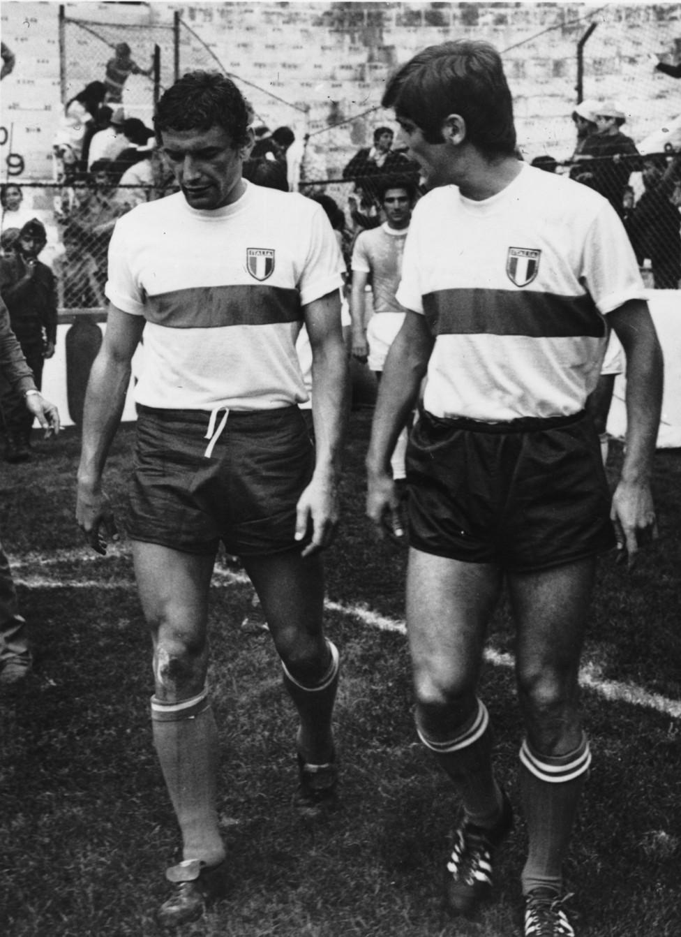 Riva e Rivera prima di Italia-Israele (Mondiali 1970)
