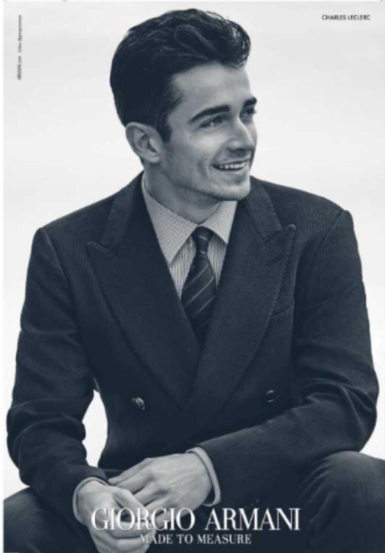 Charles Leclerc sta diventando sempre più un'icona. Il giovane monegasco, dopo essersi guadagnato la prima guida Ferrari, è in rampa di lancio e ora è diventato anche modello diventando testimonial per Giorgio Armani. Ecco i primi scatti per lo stilista milanese dopo che a gennaio era stato ospite alla sfilata del Re della moda.