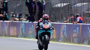 Quartararo padrone a Jerez, paura per Marquez. Dovi sul podio, Rossi out