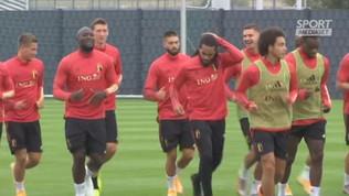 Lukaku sorridente col suo Belgio