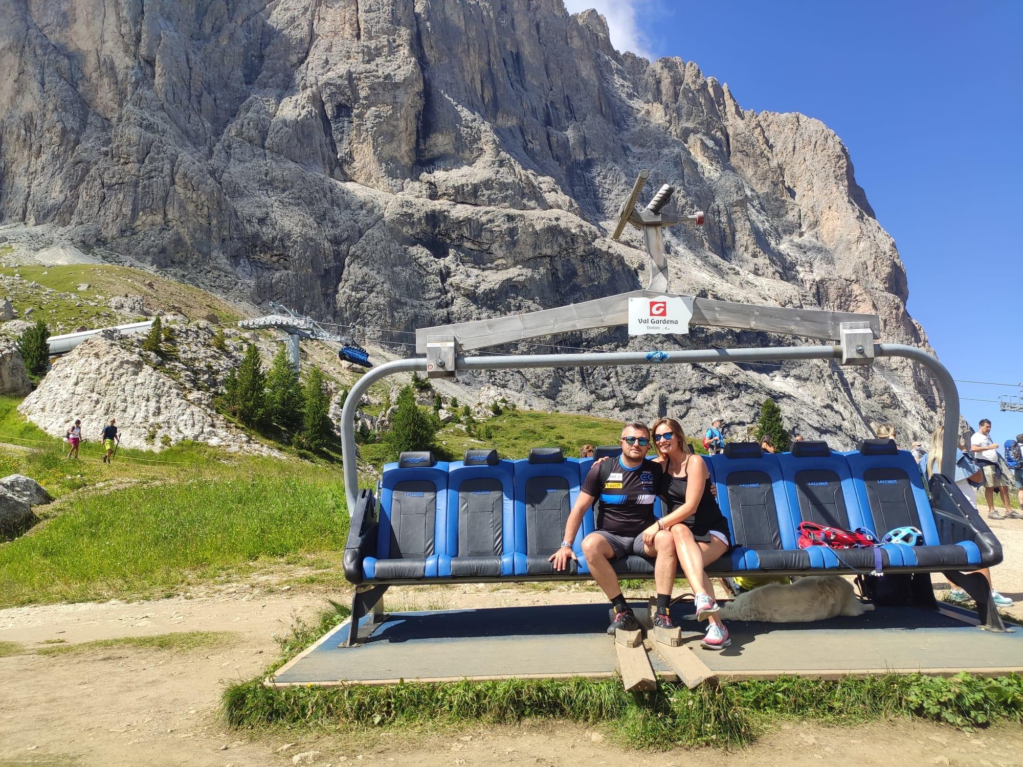 Gianluca Carboni con la maglia della smart EQ fortwo e-cup in Val Gardena.