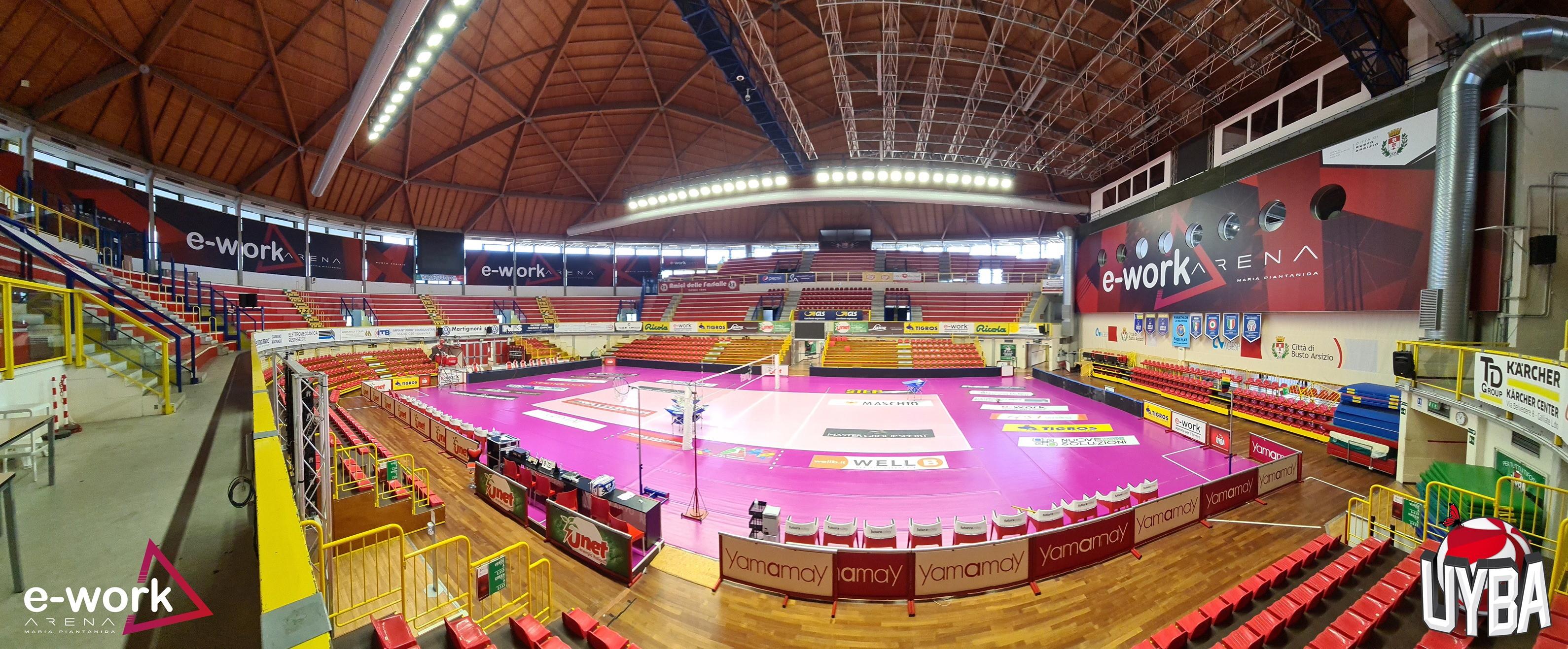 Il teatro delle storie sportive e delle imprese storiche della UYBA Volley cambia denominazione: inaugurato nel 1997 e dal 2007 Palayamamay, diventa e-work Arena.