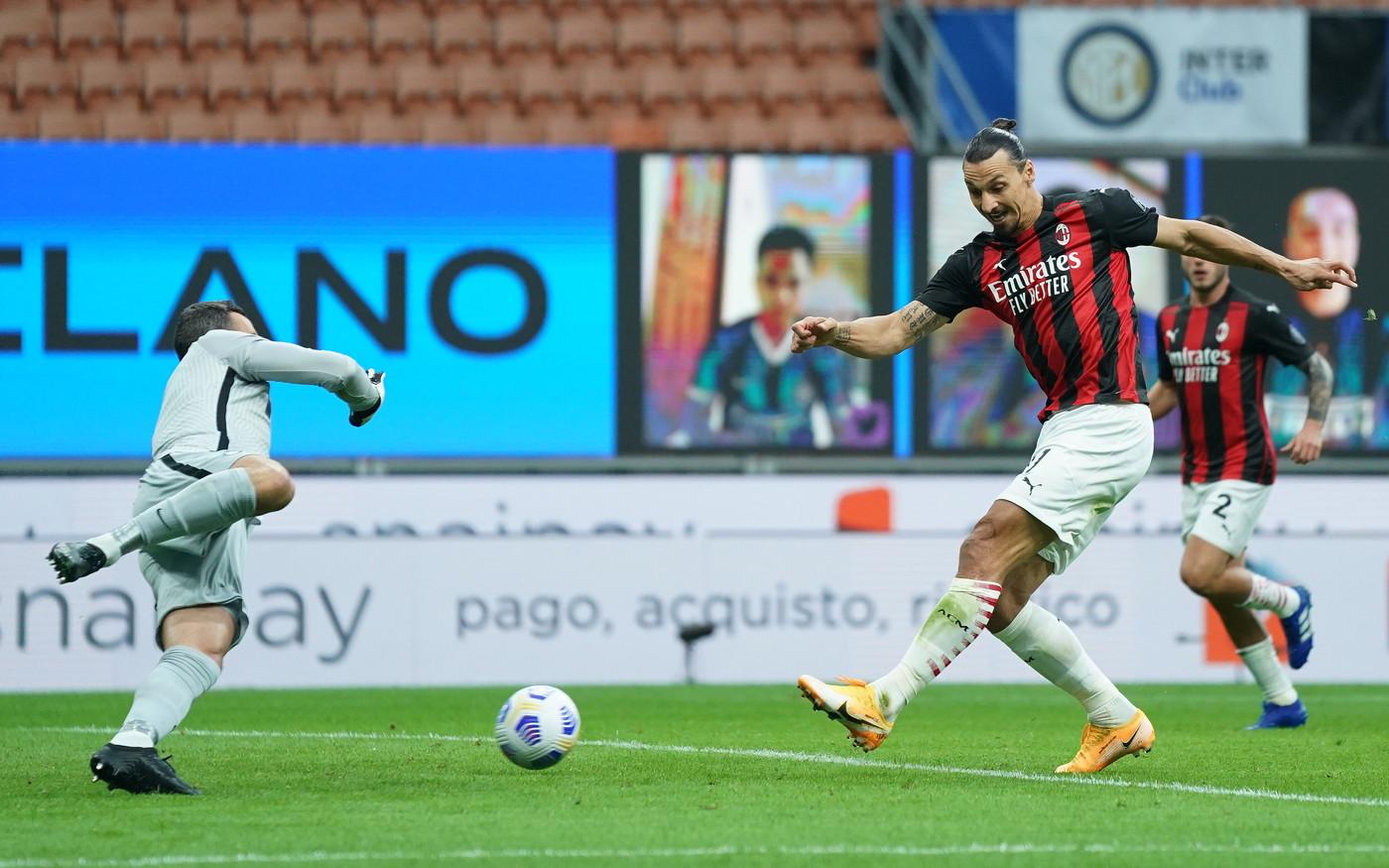 Le immagini del derby della Madonnina dove l&#39;Inter di Conte e il Milan di Pioli hanno dato spettacolo&nbsp;in un San Siro con soli 1000 spettatori ammessi.<br /><br />