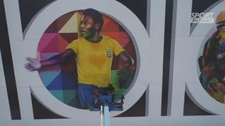 Il murales per gli 80 anni di Pelè