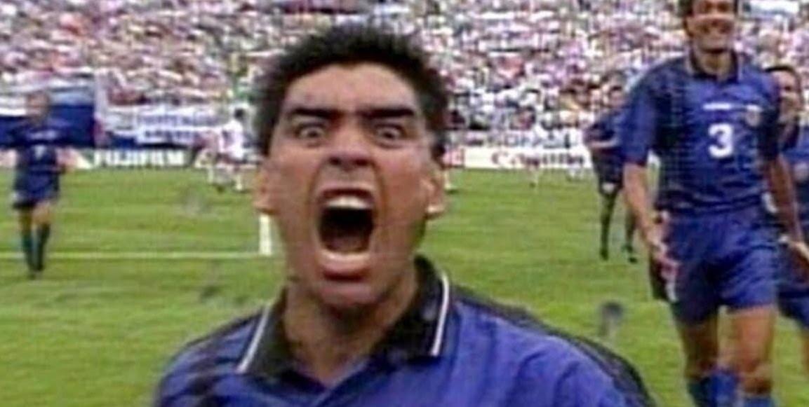 Usa 94: la rabbiosa esultanza di Maradona dopo il gol alla Grecia.