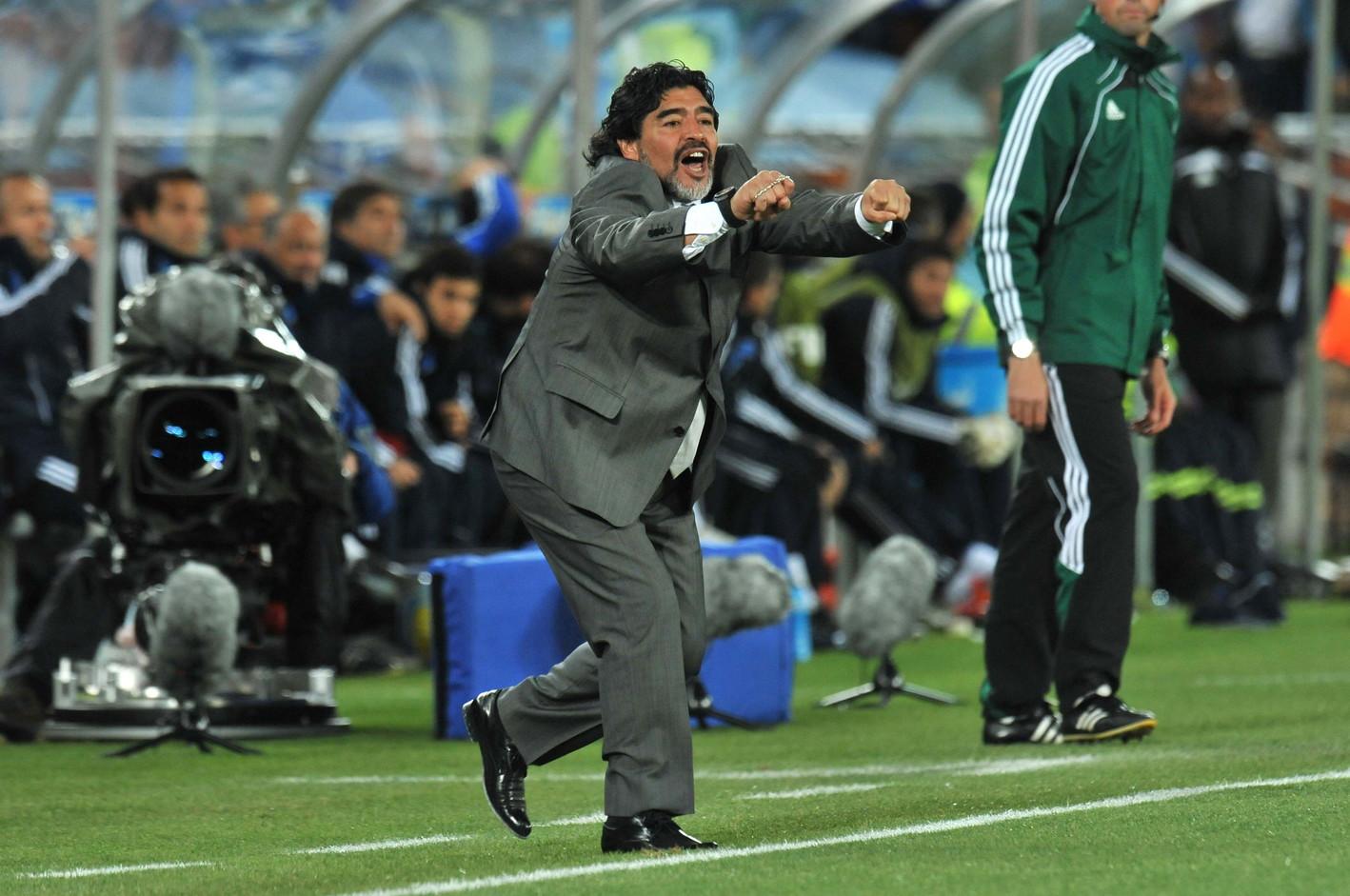 Tra il 2008 e il mondiale del 2010 Maradona guidò l'Argentina in veste di Ct.